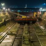 Chantier de rénovation Ponton Blue Navy ETPO. Dans la forme numero 4, zone portuaire du Havre - Seine-Maritime - (76)- 27 fevrier 2019