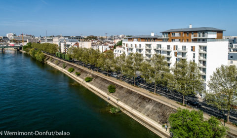 Immobilier vue aérienne, en bord de Seine à Alfortville