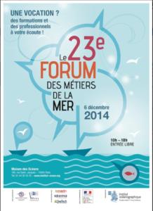 Affiche du 23 eme forum des métiers de la mer, à l'insttitut océanographique de Paris